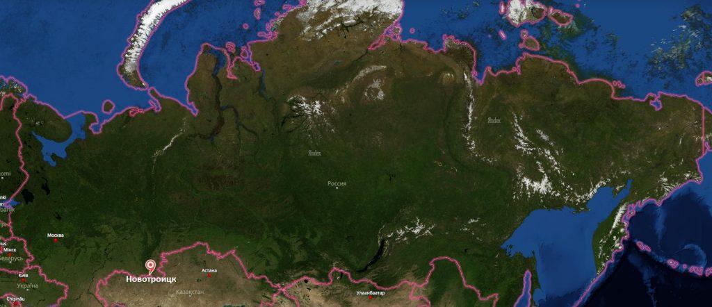 Новотроицк на карте России