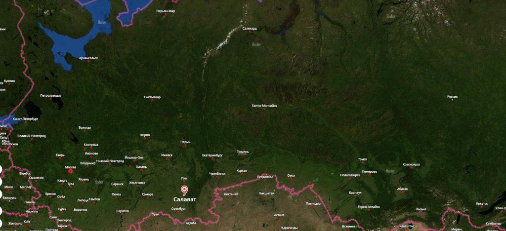 Салават на карте России