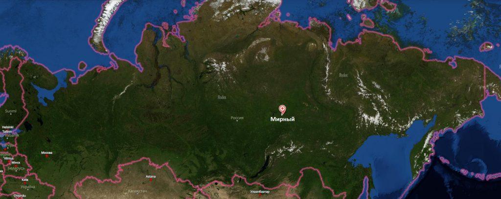 Мирный на карте России