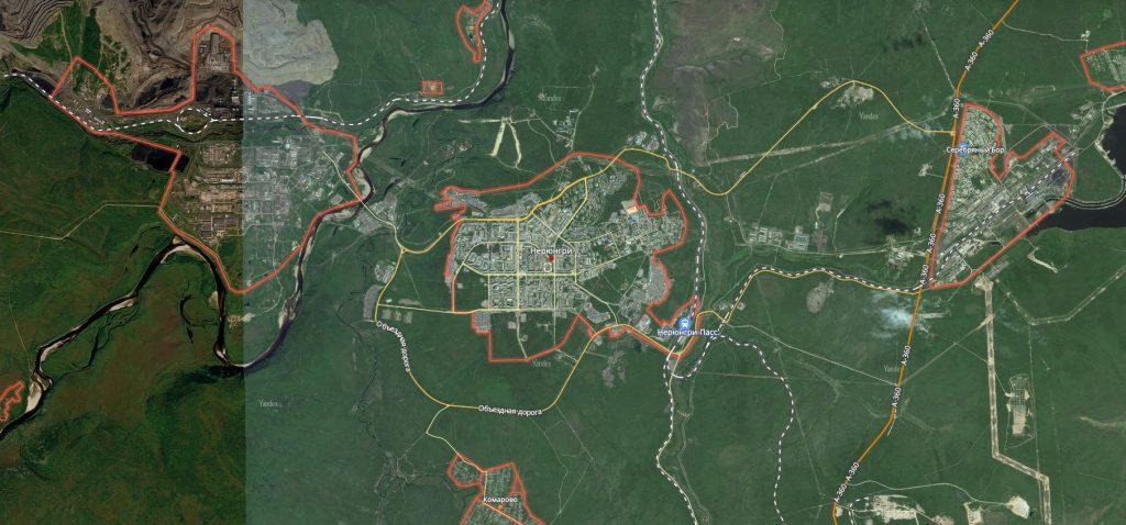 Маршруты на карте Нерюнгри