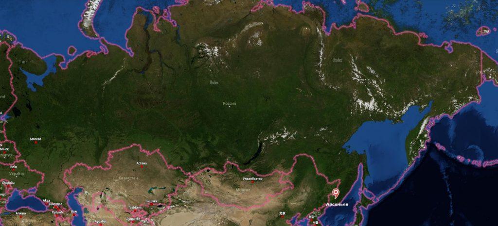 Арсеньев на карте России