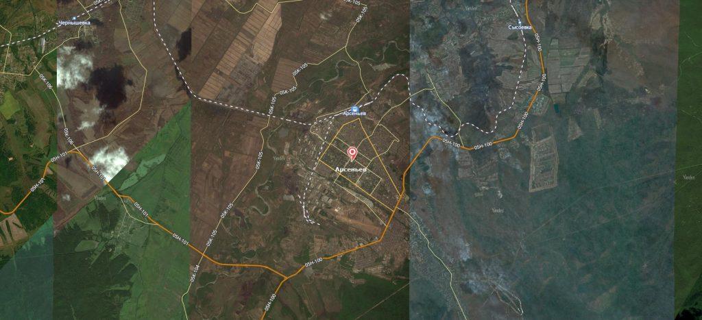 Карта города Арсеньев с дорогами. Транспортная инфраструктура