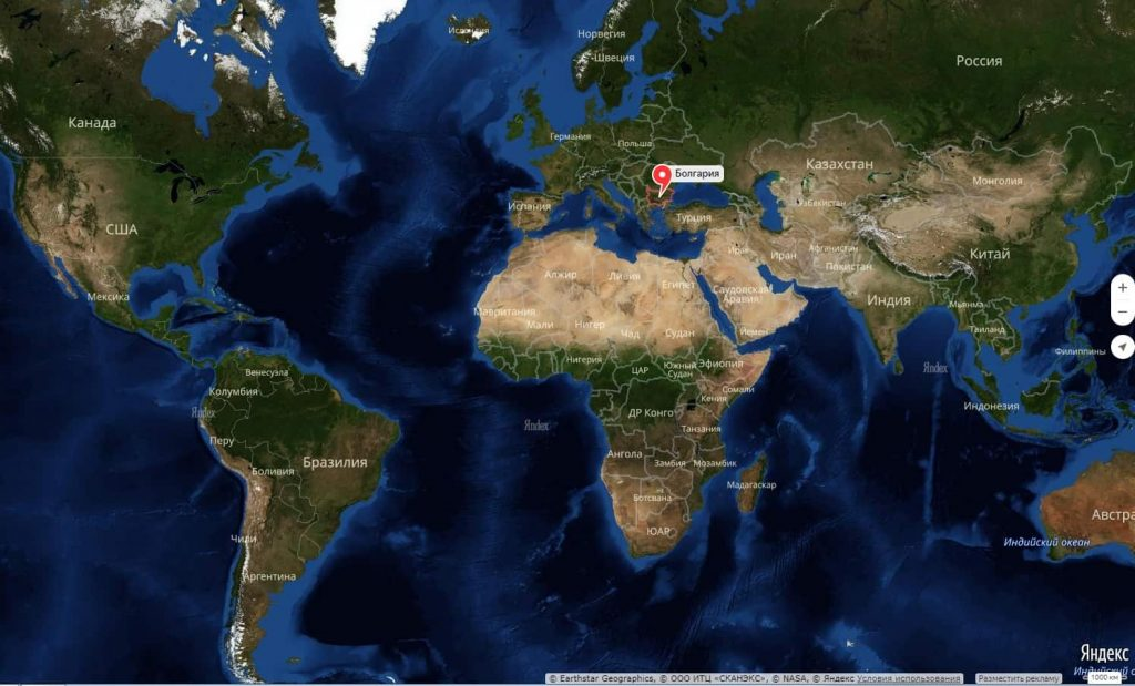 Болгария на карте мира