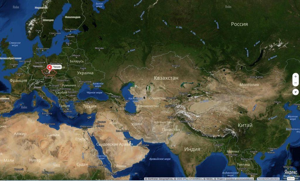 Чехия на карте мира