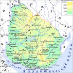 Физическая карта Уругвая
