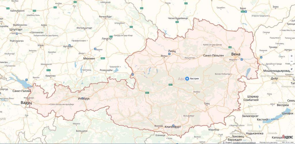 Карта Австрии с городами
