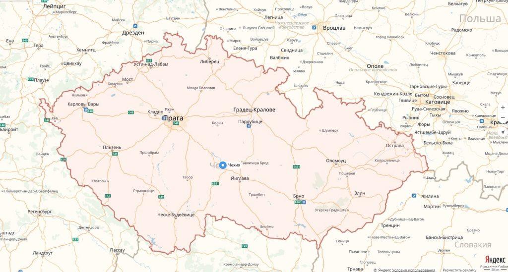 Карта Чехии с городами