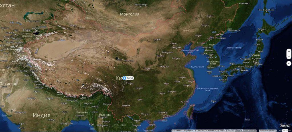 Карта Китая с городами