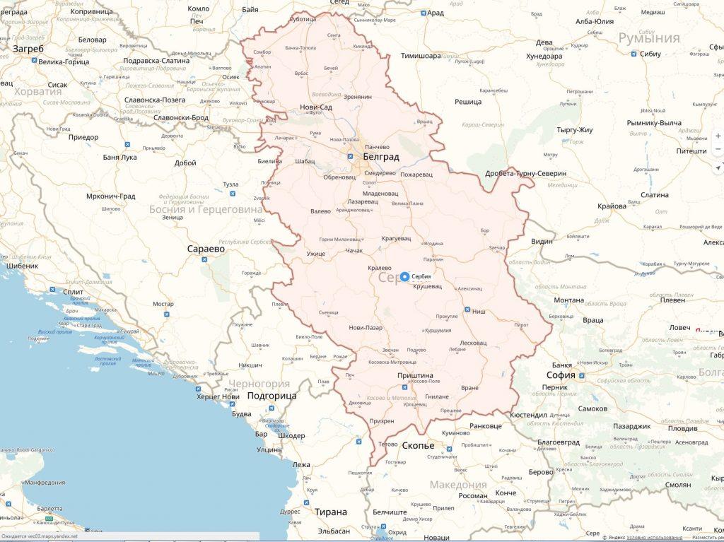 Карта Сербии с городами на русском