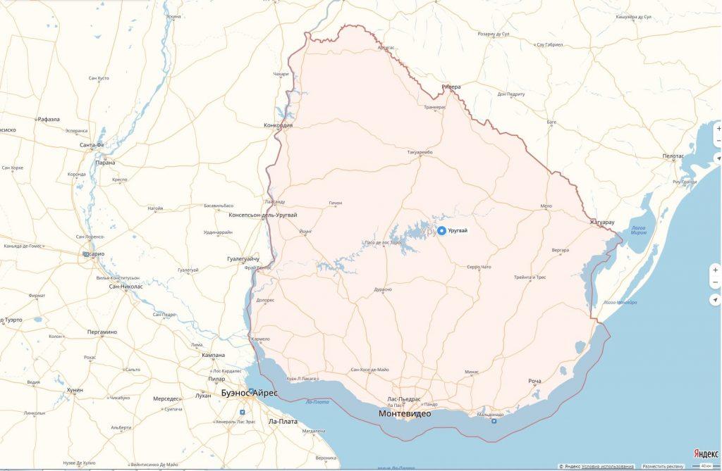 Карта Уругвая с городами