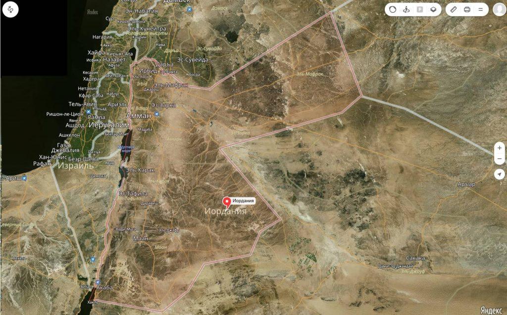Показать на карте иорданию