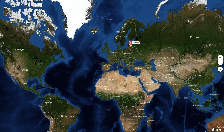 Литва на карте мира