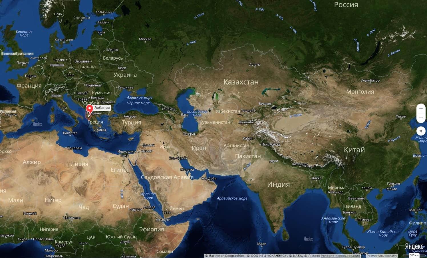 Albaniya Na Karte Mira S Gorodami Na Russkom Yazyke Podrobno