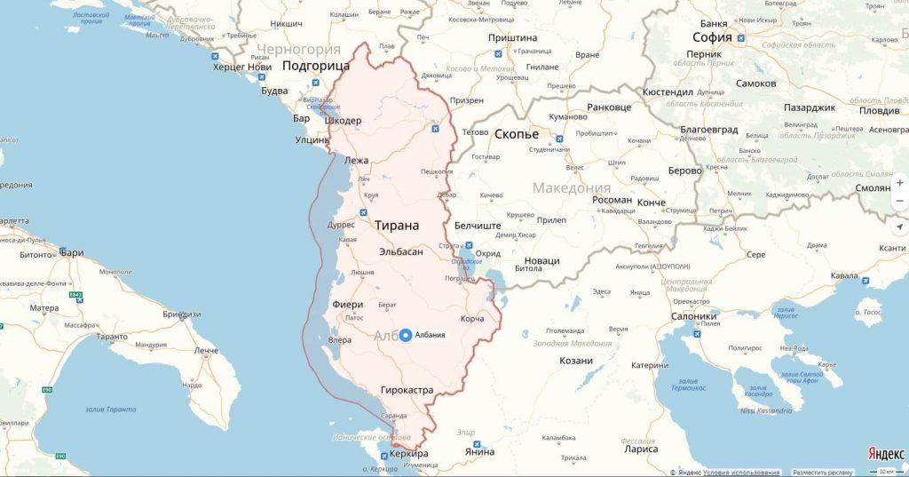 Карта Албании с городами