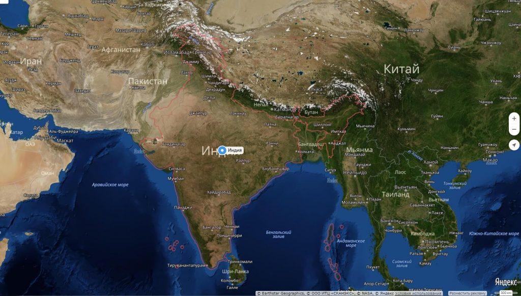 Карта Индии с городами-min