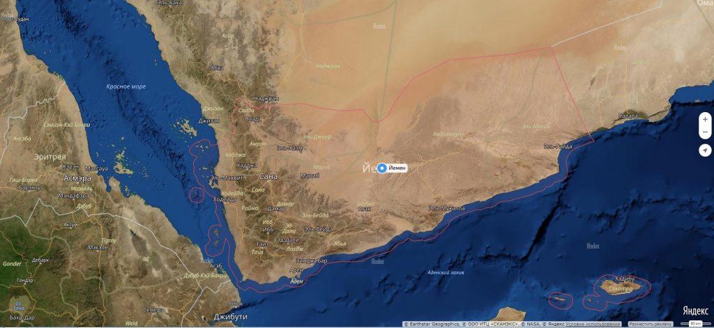 Карта Йемена с городами