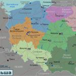 Карта Польши с административным делением