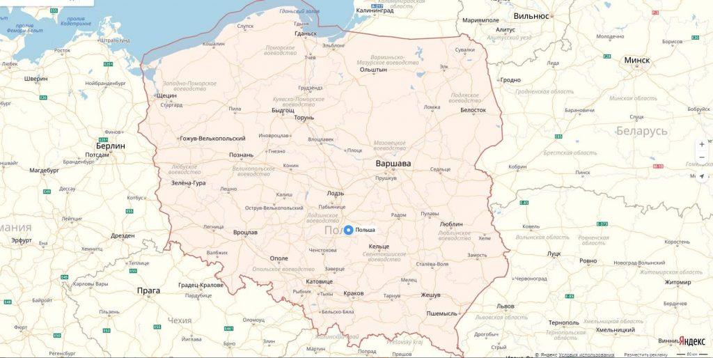 Карта Польши с городами