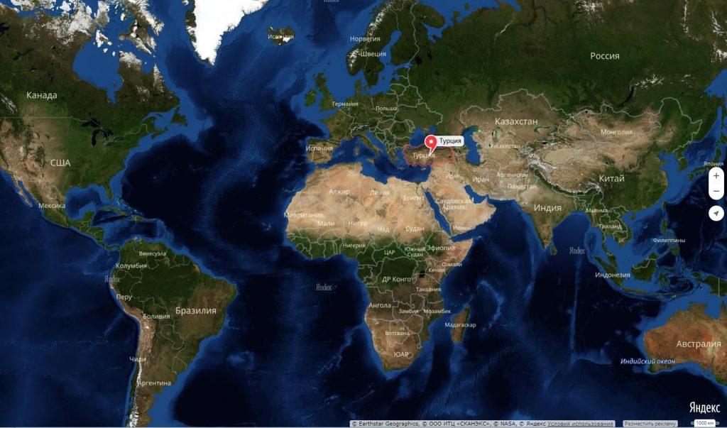 Турция на карте мира