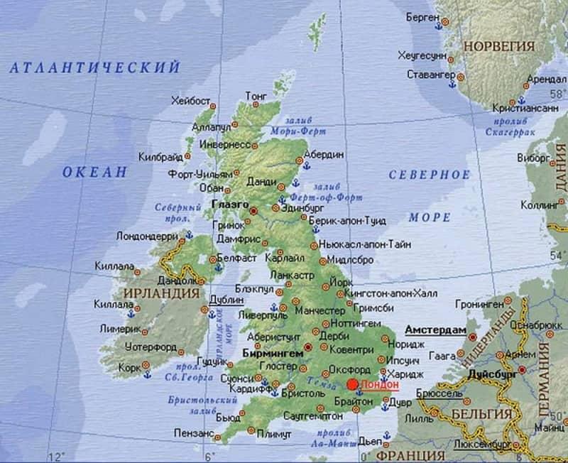 Карта Великобритании с городами