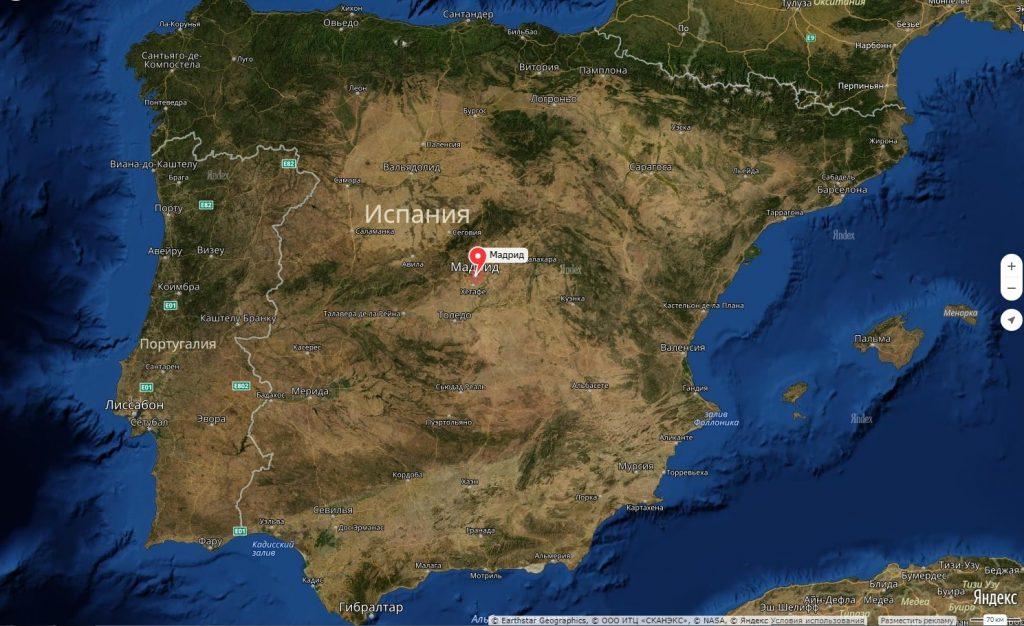 Мадрид на карте Испании