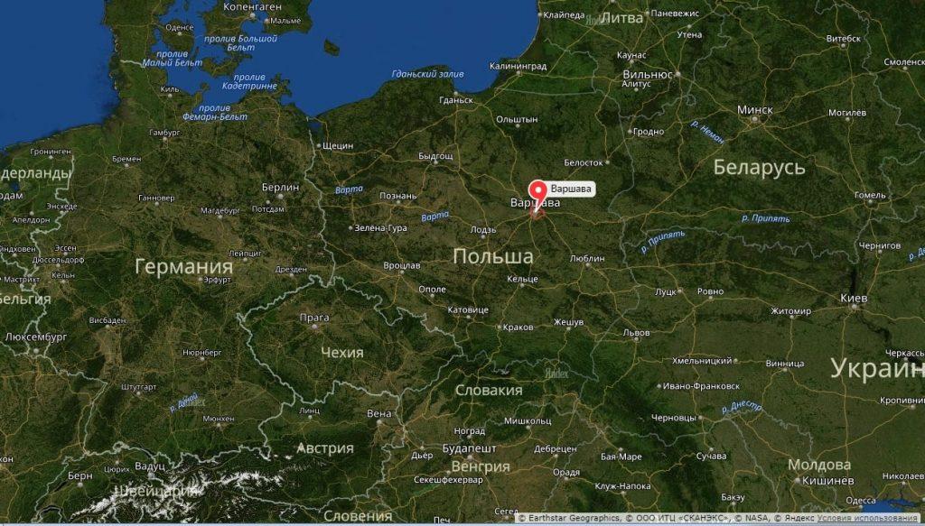 Варшава на карте Польши