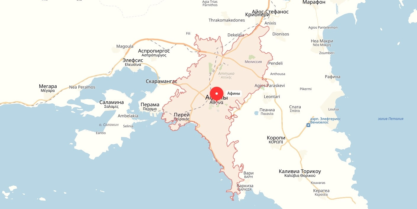 Карта Афин