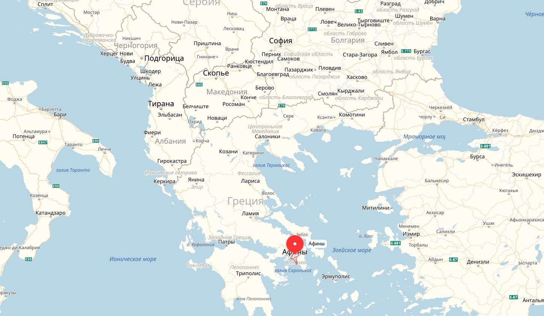 Афины на карте Греции