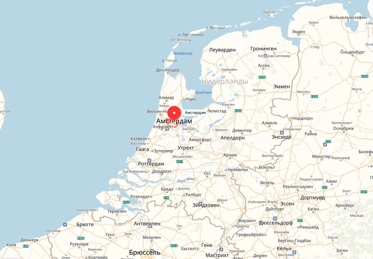 Амстердам на карте Нидерландов