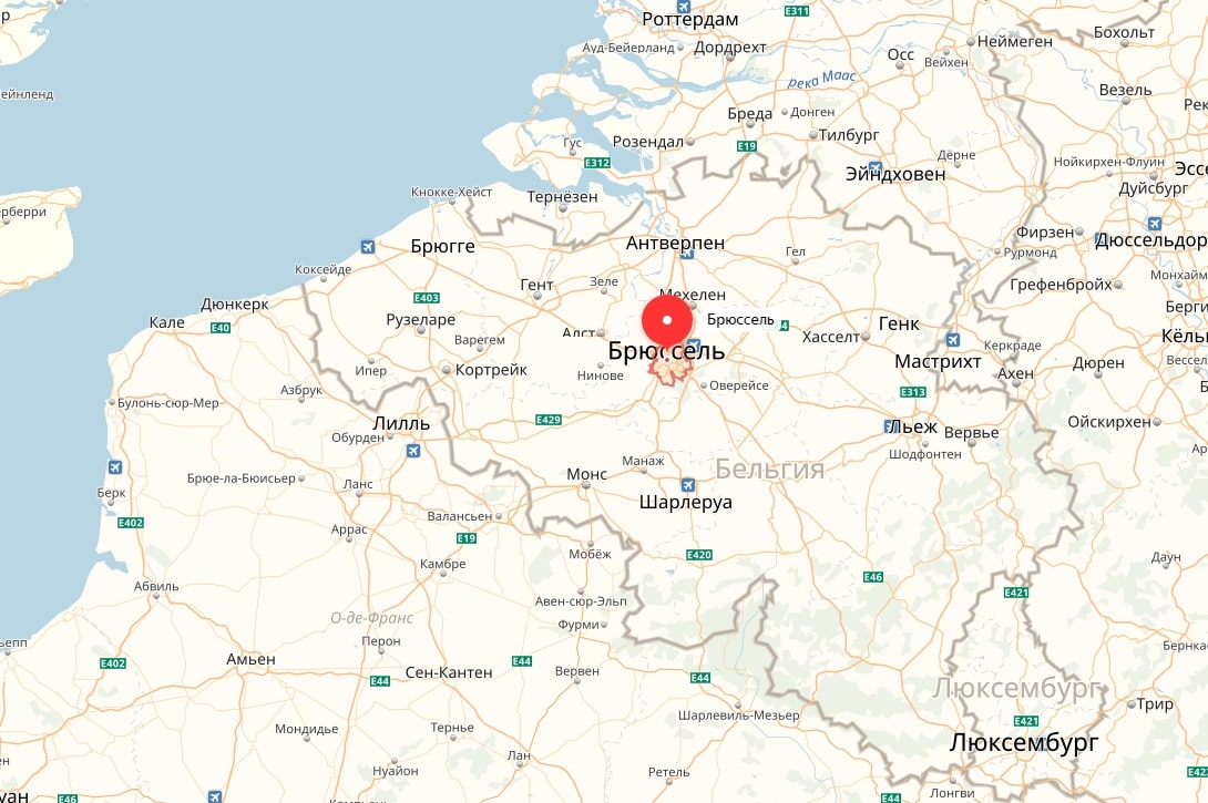 Брюссель на карте Бельгии