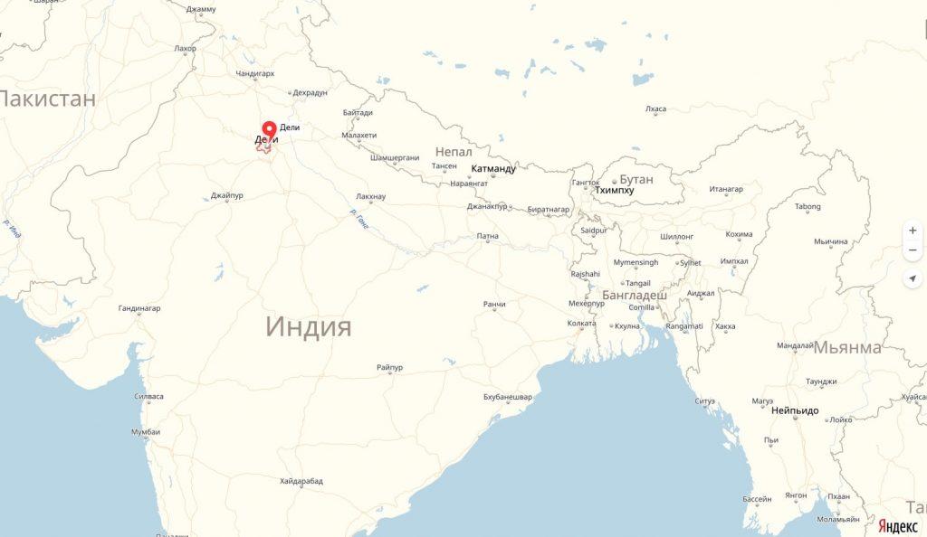 Дели на карте Индии