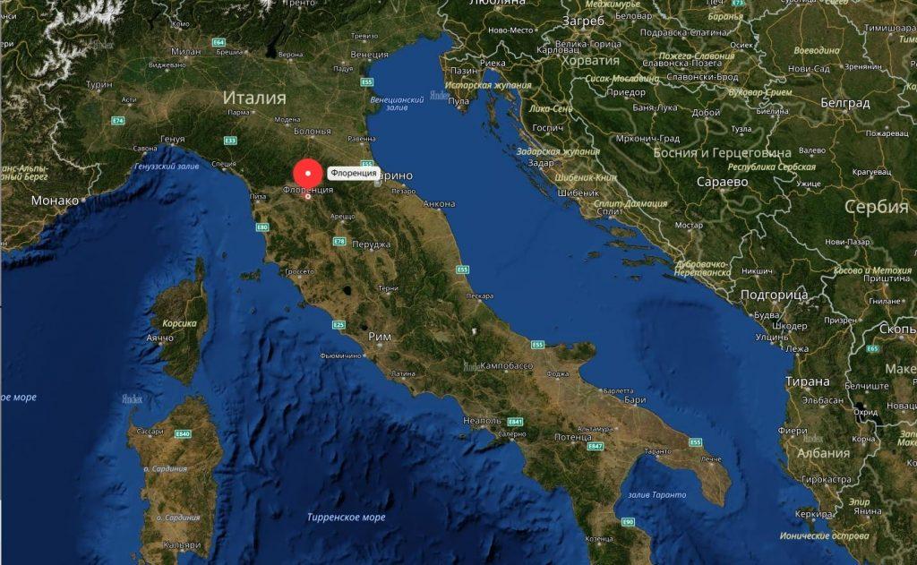Флоренция на карте Италии: география, природа и климат