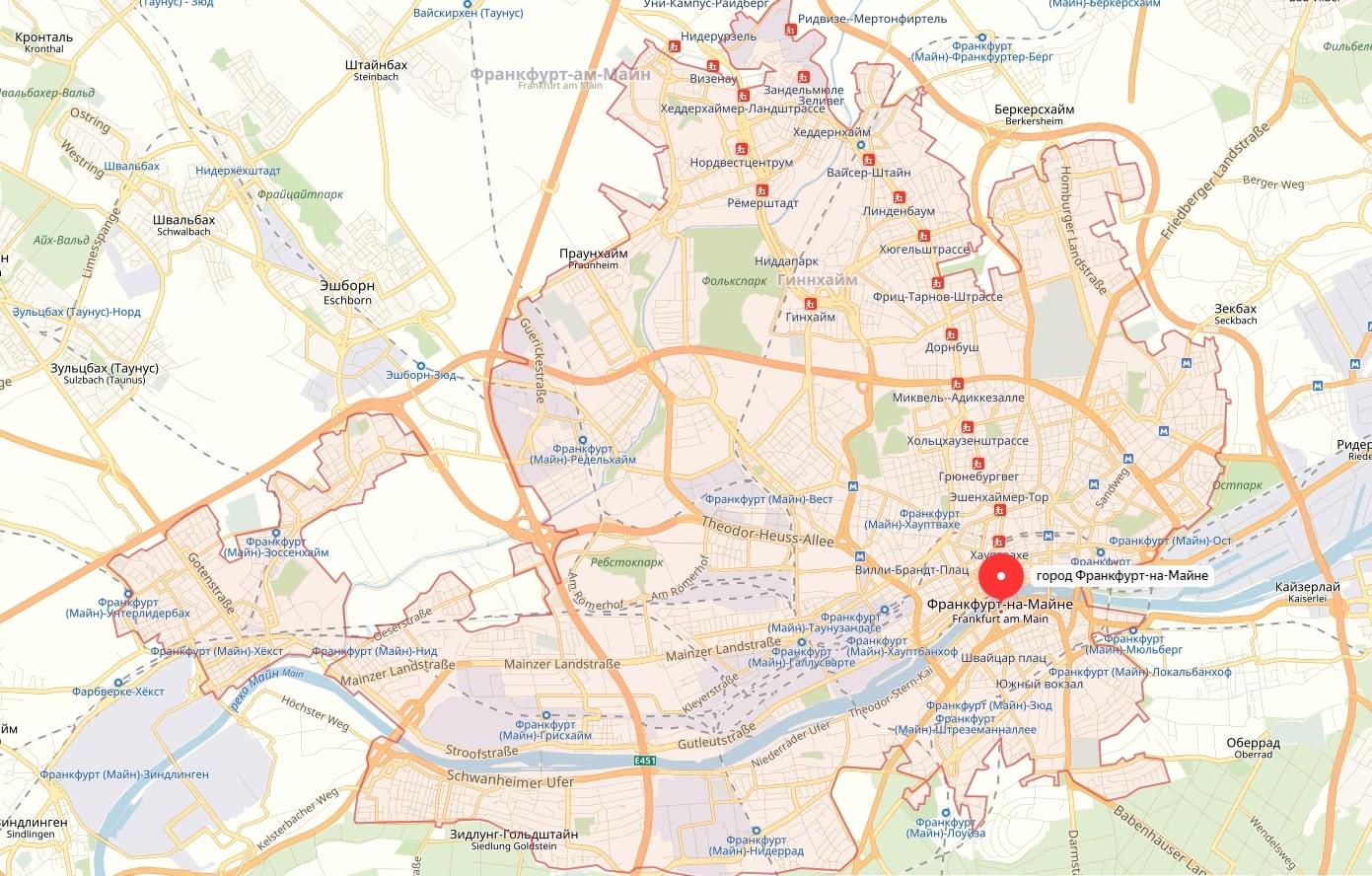 Карта Франкфурта-на-Майне