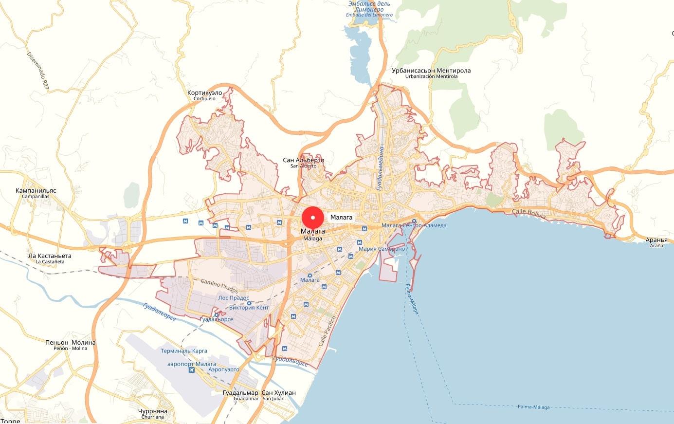 Карта Малаги