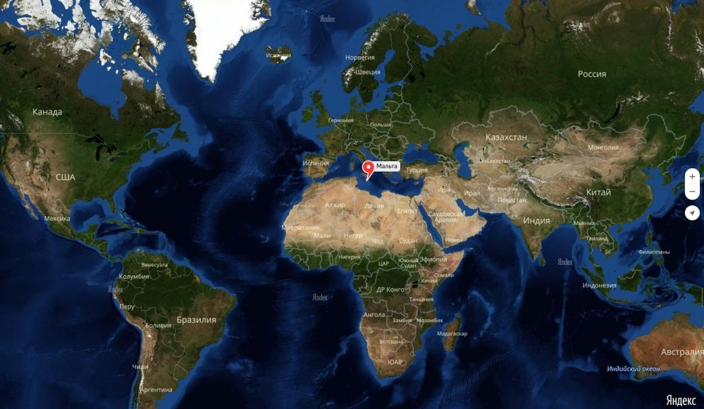 Мальта на карте мира