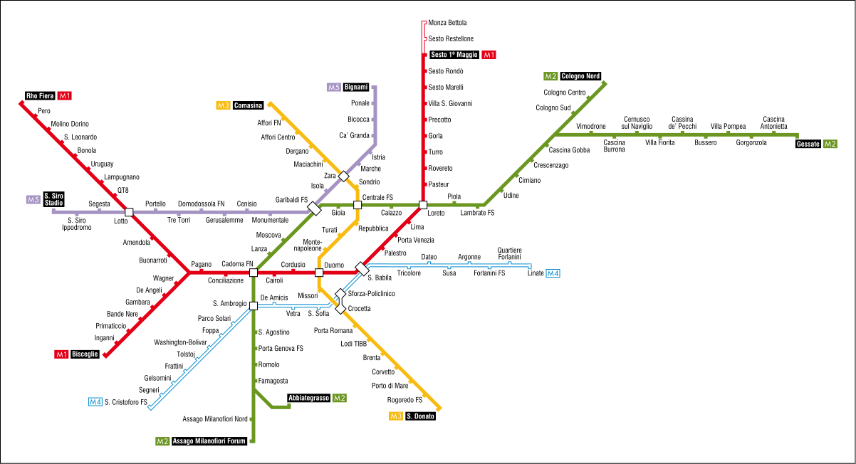 Карта метро Милана