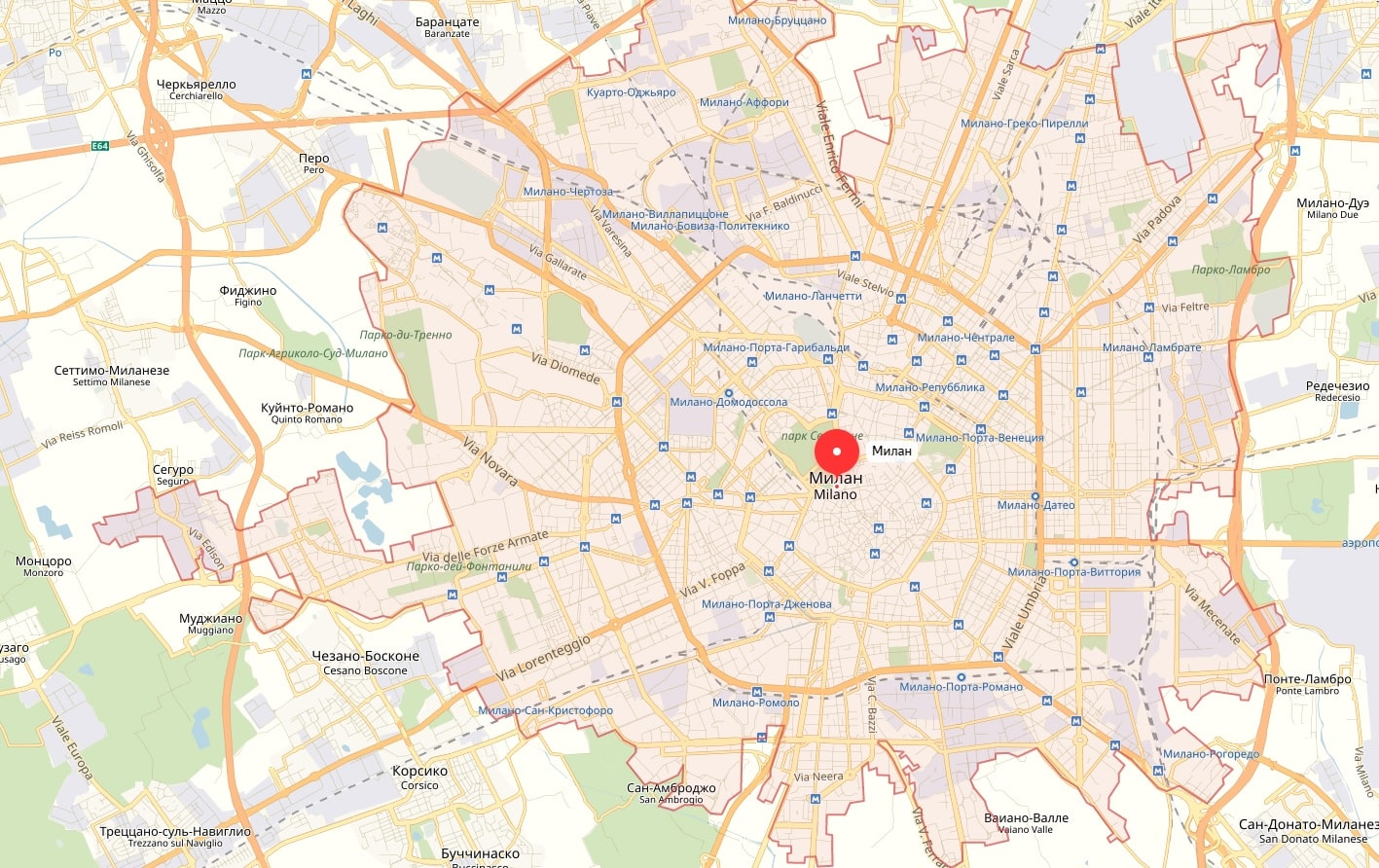Карта Милана