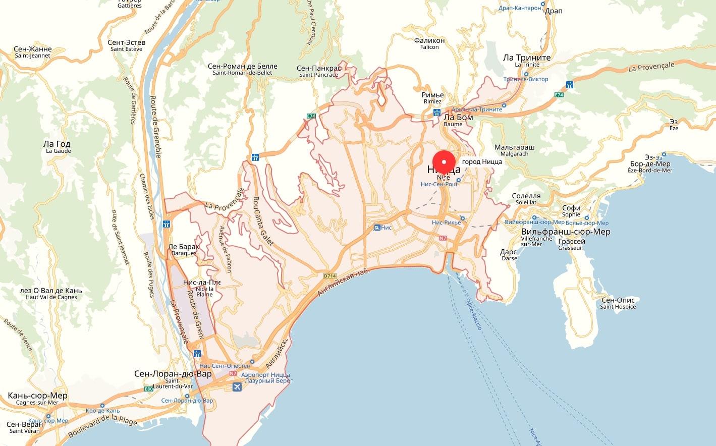 Карта Ниццы