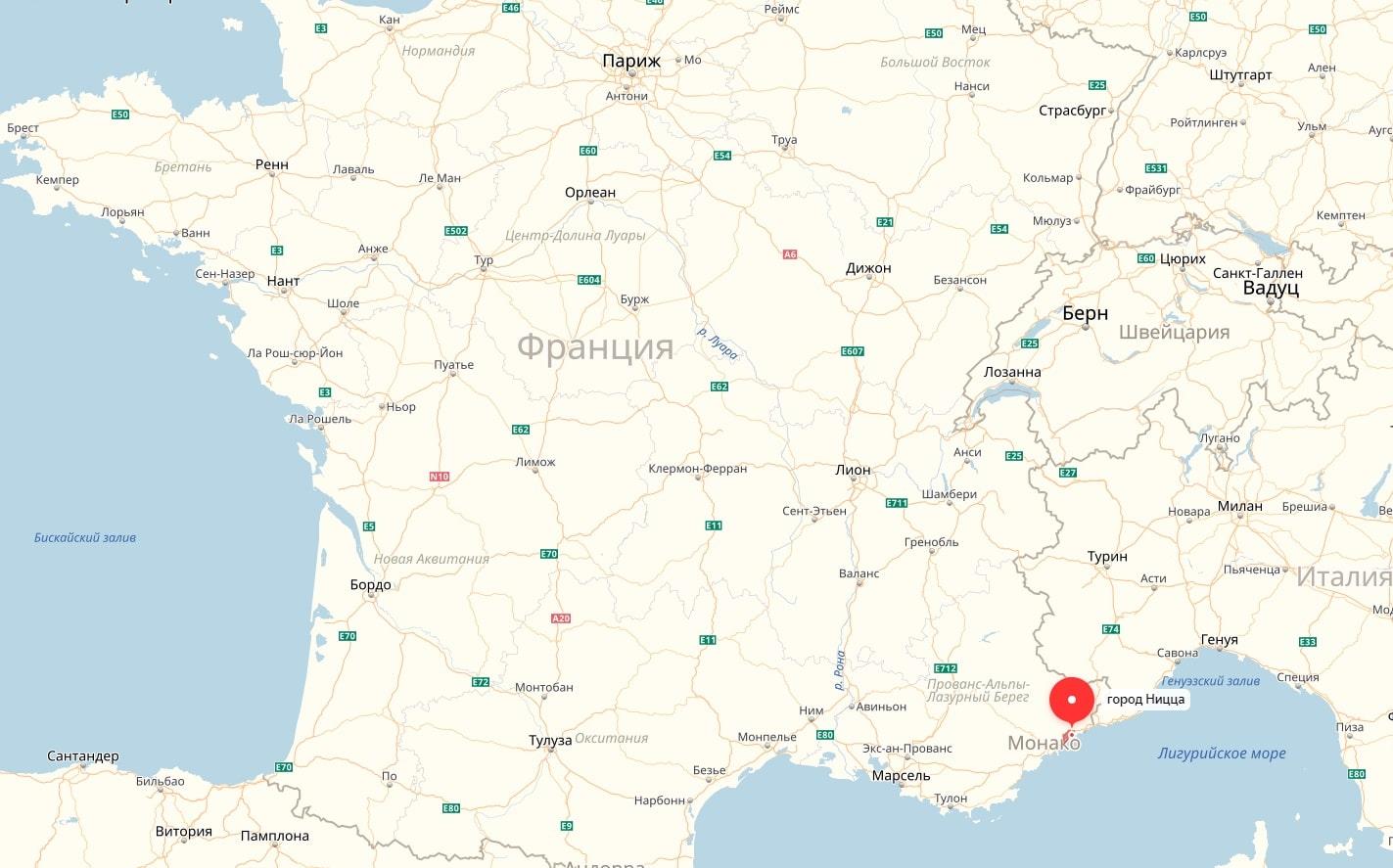 Ницца на карте Франции
