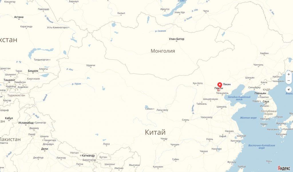 Пекин на карте Китая