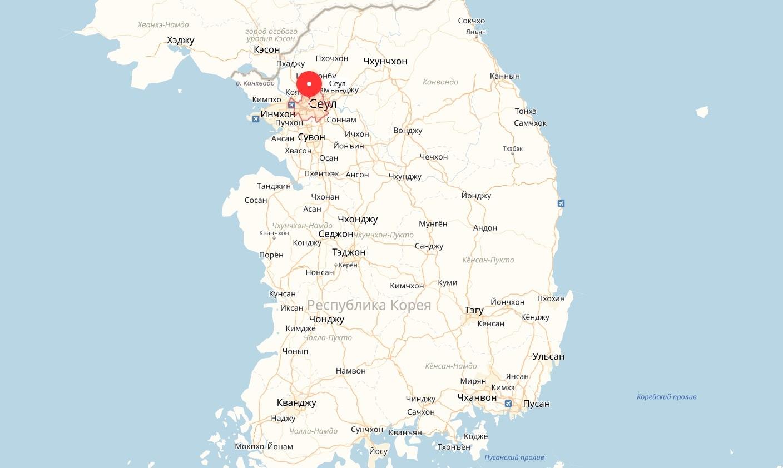 Сеул на карте Кореи