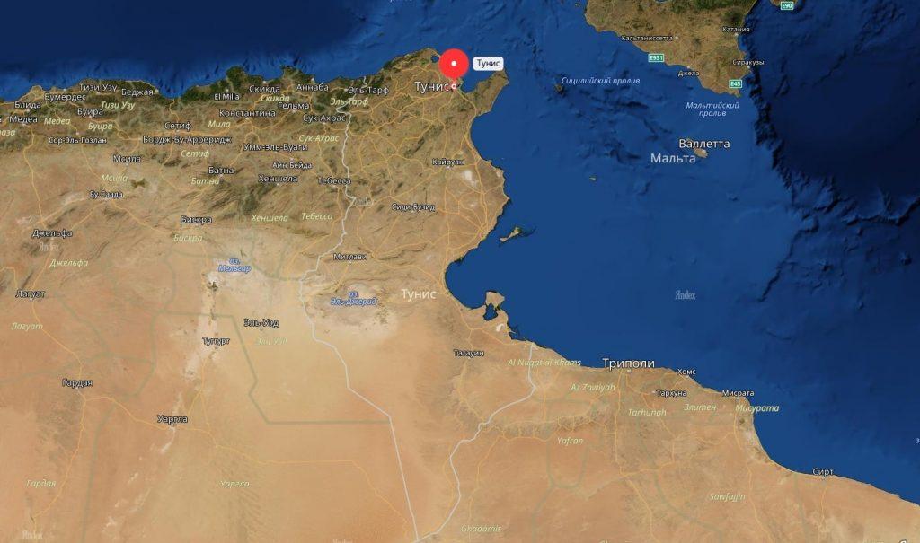 Тунис на карте Тунисской республики