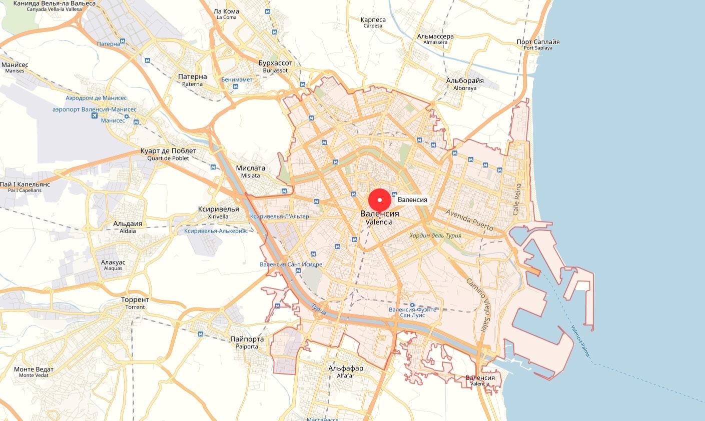 Карта Валенсии на русском языке и метро, Валенсия на карте ... Валенсия Испания Карта